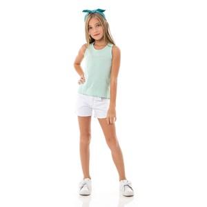 Blusa Feminina Infantil / Kids Em Malha Penteada - Um Mais Um Verde
