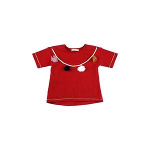 Blusa Feminina Infantil / Kids Manga Curta Em Cotton Liso - 1+1 Vermelho