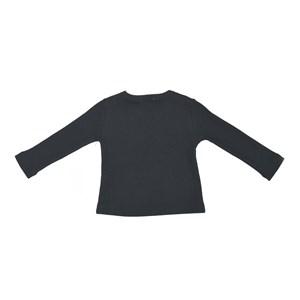 Blusa Infantil / Baby Em Malha Canelada Com Lycra - Um Mais Um Preto