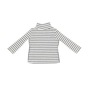 Blusa Infantil / Baby Em Malha Canelada Listrada Com Detalhe Lateral Em Cadarço - Um Mais Um Branco