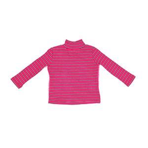 Blusa Infantil / Baby Em Malha Canelada Listrada Com Detalhe Lateral Em Cadarço - Um Mais Um Pink