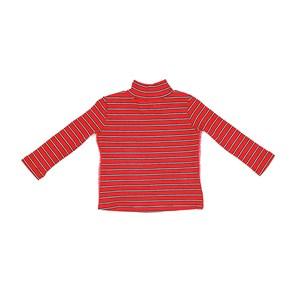 Blusa Infantil / Baby Em Malha Canelada Listrada Com Detalhe Lateral Em Cadarço - Um Mais Um Vermelh