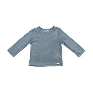 Blusa Infantil / Baby Em Malha Jersey Com Foil - Um Mais Um Azul Claro