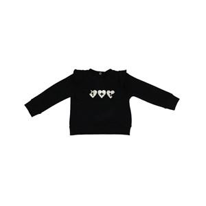 Blusa Infantil / Baby Em Moletinho Com Lycra Com Estampa Frontal - Um Mais Um Preto