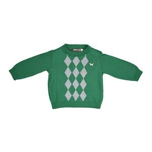 Blusa Infantil / Baby Em Tricot  Com Patch De Cachorrinho - Um Mais Um Verde