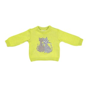 Blusa Infantil / Baby Em Tricot - Um Mais Um Verde Fluor