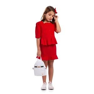 Blusa Infantil Feminina Com Babados Magas Bufantes E Botões Frontais Vermelho