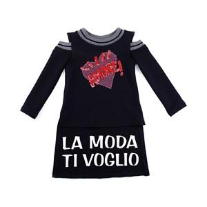 Blusa Infantil Feminina Em Moletinho Modelo Alongado Com Recorte No Ombros - 1+1 Preto