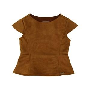 Blusa infantil feminina em neoprene com recortes MARROM