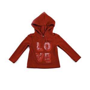 Blusa Infantil Feminina Modelo Com Capuz Em Crepe Com Lycra E Aplique De Lantejoula - 1+1 Vermelho