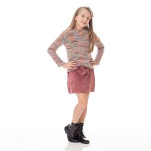 Blusa Infantil / Kids Em Malha Boucle Felpuda - Um Mais Um Laranja Escuro