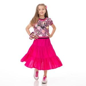 Blusa Infantil / Kids Em Malha Paetê Estampada - Um Mais Um Rosa Claro