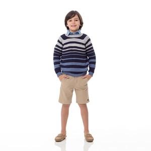 Blusa Infantil / Kids Em Tricot Com Patch De Cachorrinho - Um Mais Um Azul Jeans