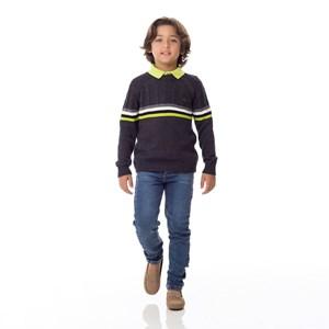 Blusa Infantil / Kids Em Tricot Com Patch De Cachorrinho - Um Mais Um Preto