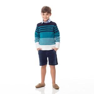 Blusa Infantil / kids em tricot com patch de cachorrinho - um mais um TURQUESA