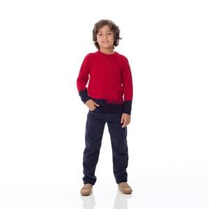 Blusa Infantil / Kids Em Tricot  - Um Mais Um Vermelho