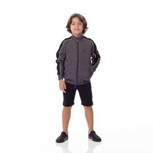 Blusa Infantil/Kids Masculino Em Canelado Dublado - Um Mais Um Preto