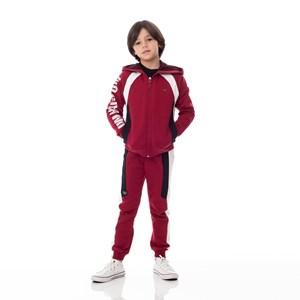 Blusa Infantil/Kids Masculino Em Moletom Sem Felpa - Um Mais Um Vermelho