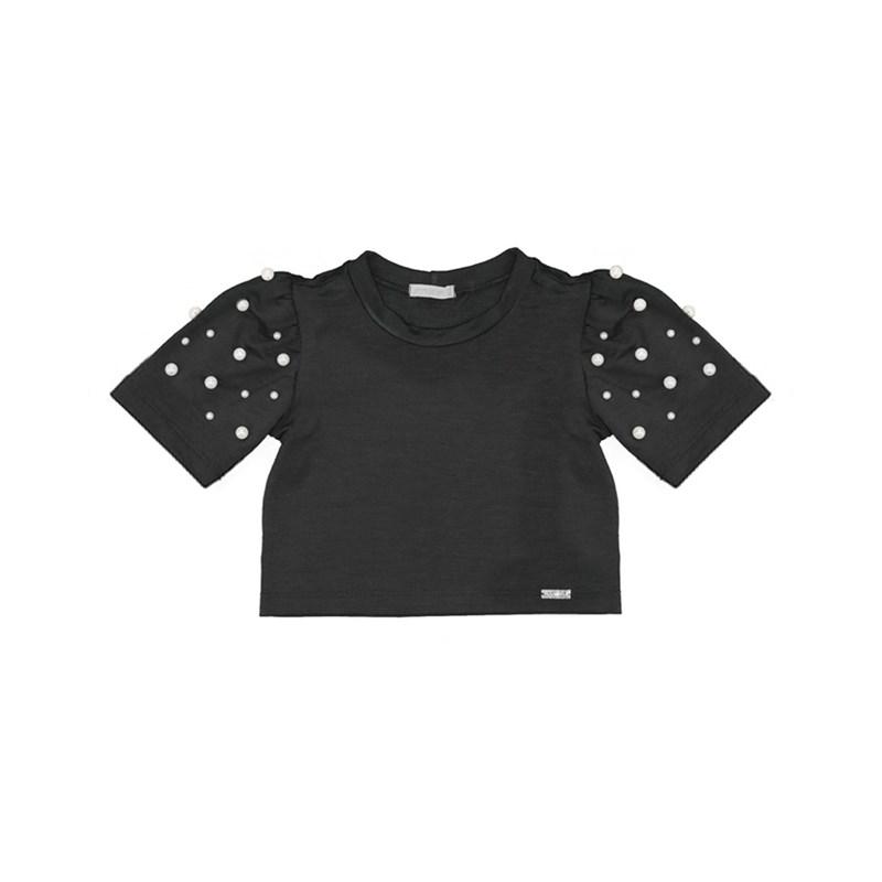 Blusa infantil manga bufante com aplique de perola Preto