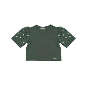Blusa infantil manga bufante com aplique de perola VERDE