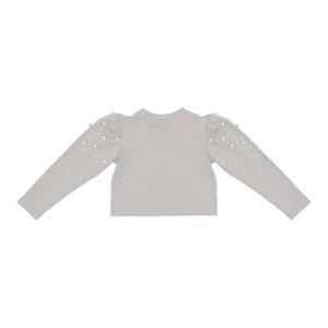 Blusa infantil manga longa bufante com aplique de perola CRU