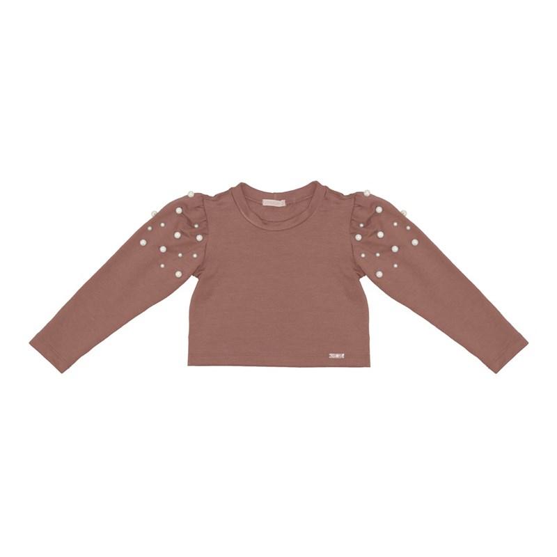 Blusa infantil manga longa bufante com aplique de perola ROSA CLARO