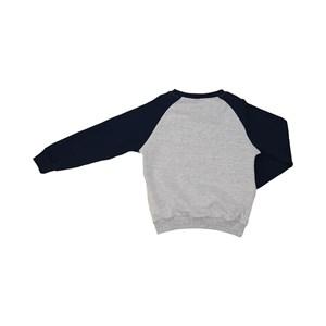 Blusa infantil masculina bolsos laterais duas cores com punhos Marinho
