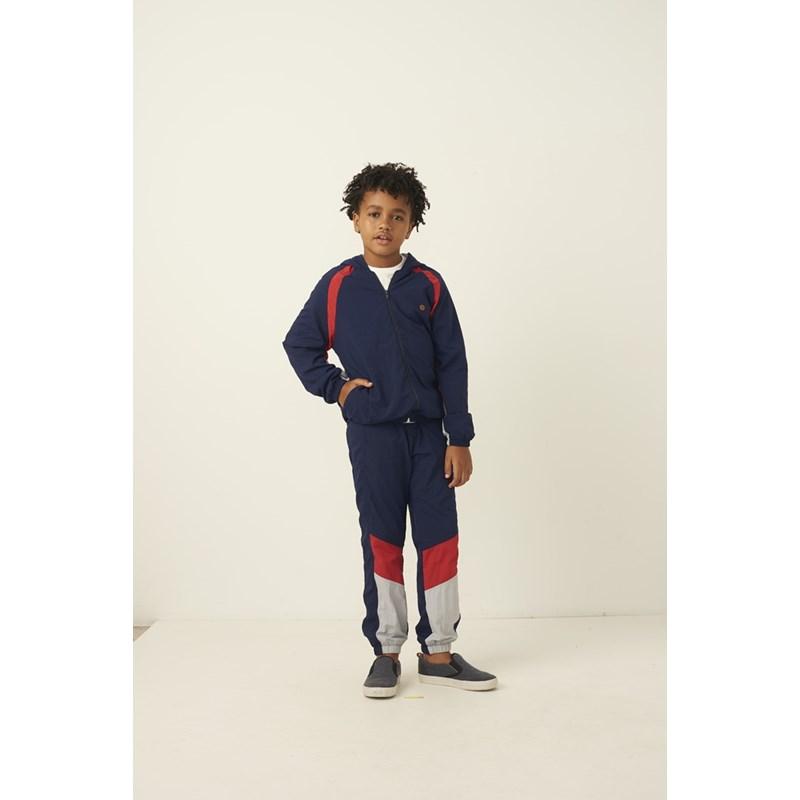 Blusa infantil masculina com capuz e ziper recortes e detalhes em tela Marinho