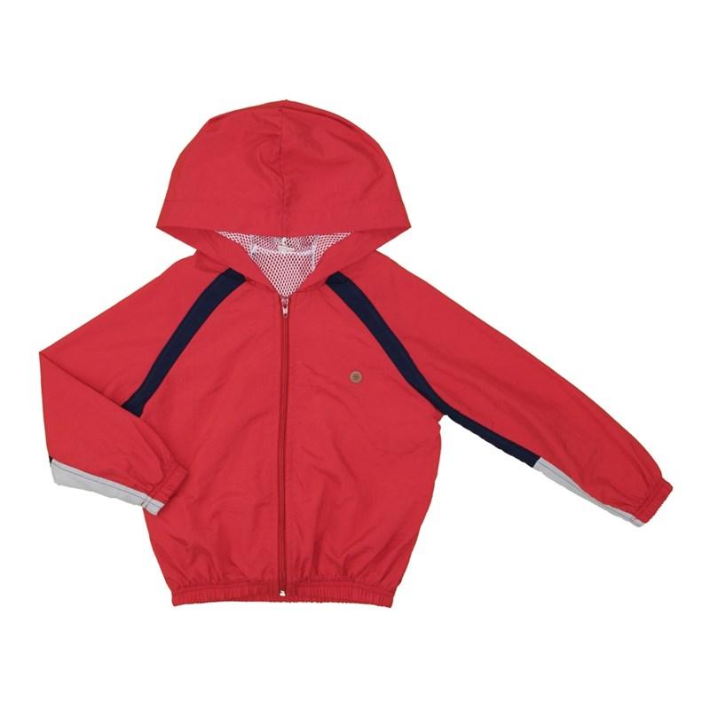 Blusa infantil masculina com capuz e ziper recortes e detalhes em tela Vermelho