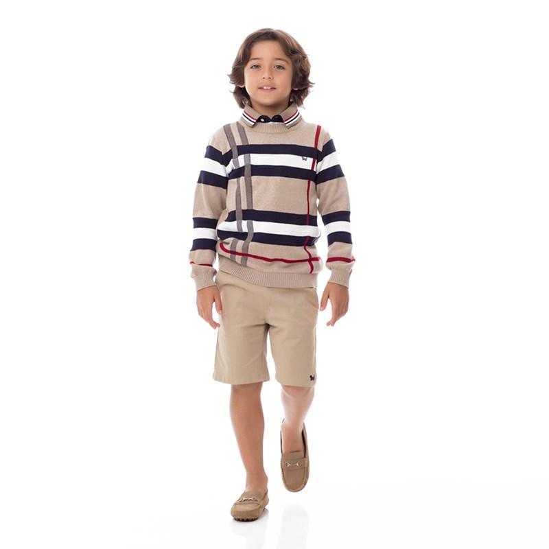 Blusa Infantil Masculina Em Tricot - Um Mais Um Bege Claro
