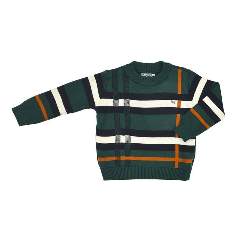 Blusa Infantil Masculina Em Tricot - Um Mais Um Verde