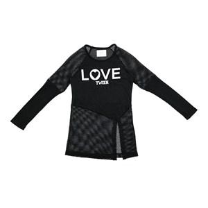 Blusa  Infantil / Teen Em Malha Crochê Com Malha Telada Com Patch Love  - Two In Preto