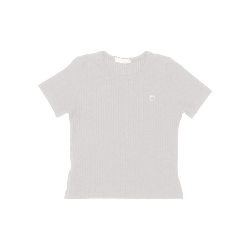 Blusa malha canelada lisa manga curta CRU
