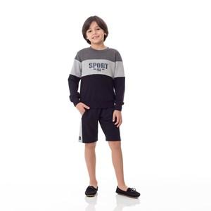 Blusa Moletom Infantil / Kids Em Moletinho De Viscose Com Lycra E Com Estampa Frontal - Um Mais Um Preto
