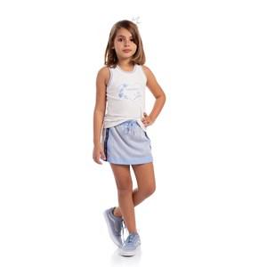 Blusa Regata Com Estampa Frontal Azul Claro