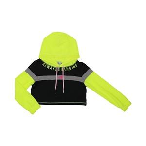 Blusa teen feminina manga longa em moletinho tres cores com capuz detalhes neon Preto