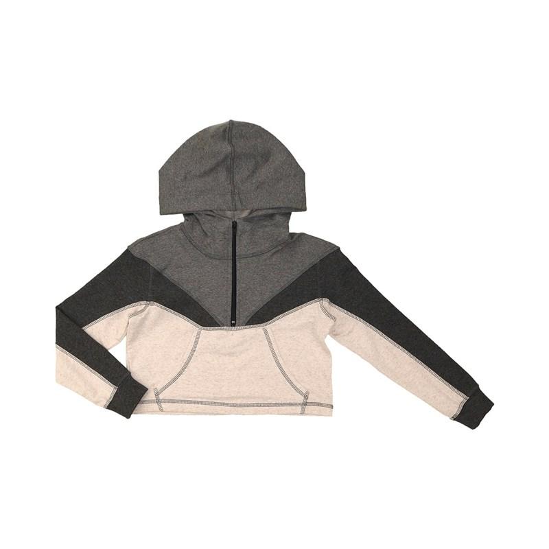 Blusa teen feminina manga longa em moletinho tres cores com capuz e bolso frontal CRU