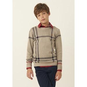 Blusa tricot masculina infantil tartan estilo Burberry BEGE CLARO