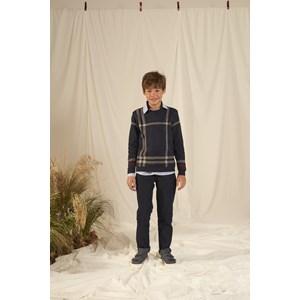 Blusa tricot masculina infantil tartan estilo Burberry Marinho