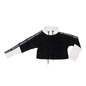 Blusao teen feminino em malha de chenille com detalhes de cadarço Preto