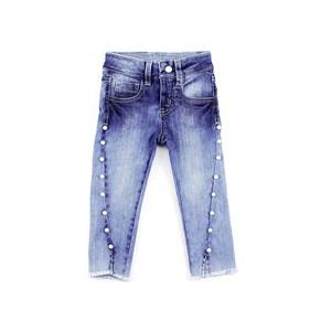 Calça Feminina Infantil / Kids Em Jeans Com Lycra Com Rebites De Perola - 1+1 Delave