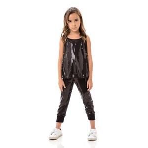 Calça Feminina Infantil / Kids Em Malha Paetê Com Helanquinha Para Forro - Um Mais Um Preto