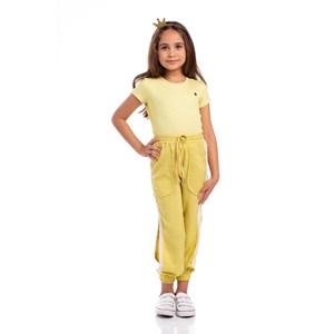 Calça Infantil Feminina Com Faixas Lareterais E Punhos De Elástico Amarelo Canario