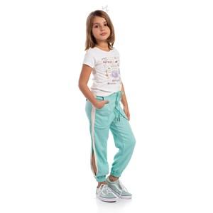 Calça Infantil Feminina Com Faixas Lareterais E Punhos De Elástico Verde Agua