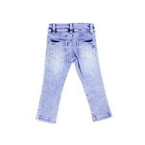 Calça Infantil Feminina Em Jeans Com Lycra Modelo Destroyed Com Aplique De Paetê - 1+1 Delave