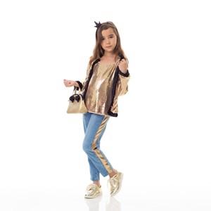 Calça Infantil / Kids Em Jeans Com Lycra Com Recorte Lateral Em Malha Paetê - Um Mais Um Dourado