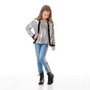 Calça Infantil / Kids Em Jeans Com Lycra Com Recorte Lateral Em Malha Paetê - Um Mais Um Prata