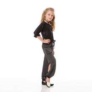 Calça Infantil / Kids Em Moletinho Sem Felpa - Um Mais Um Preto