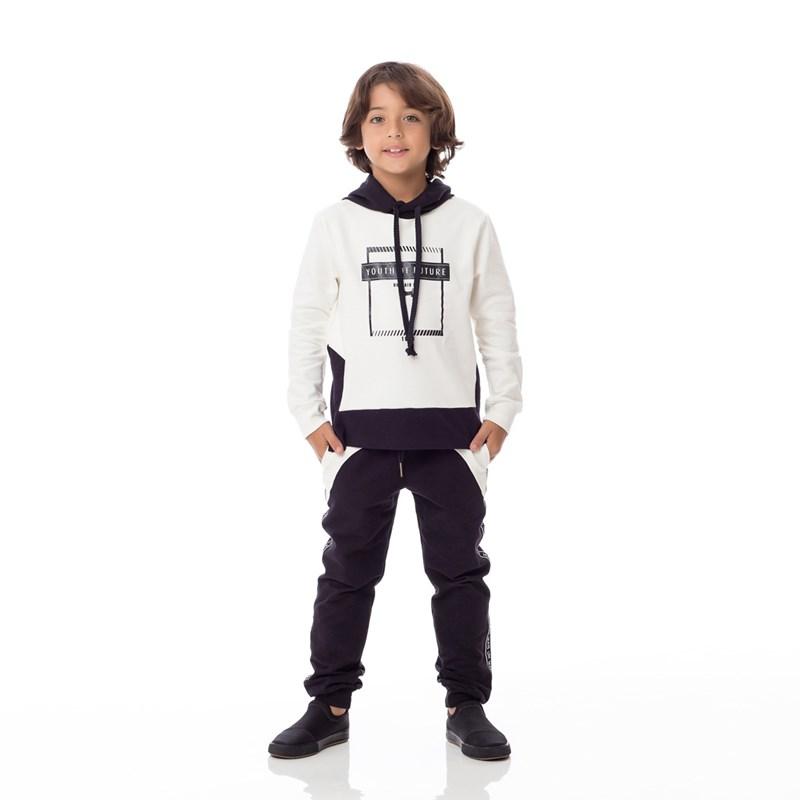 Calça Infantil/Kids Masculino Em Moletinho Com Lycra - Um Mais Um Preto