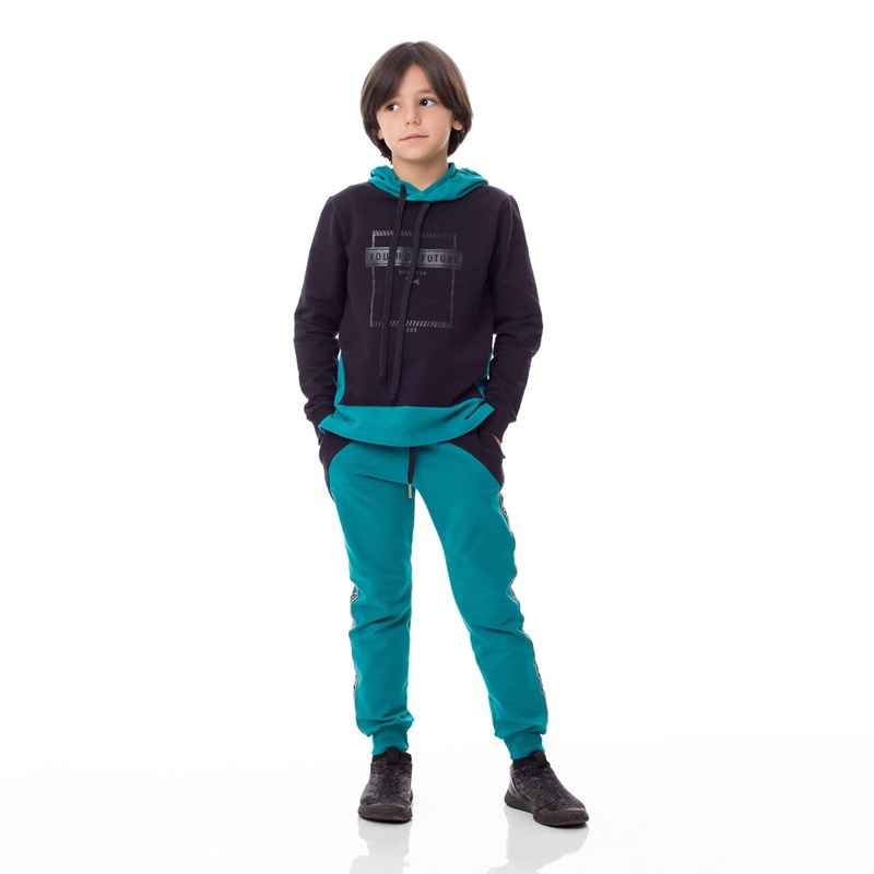 Calça Infantil/Kids Masculino Em Moletinho Com Lycra - Um Mais Um Verde
